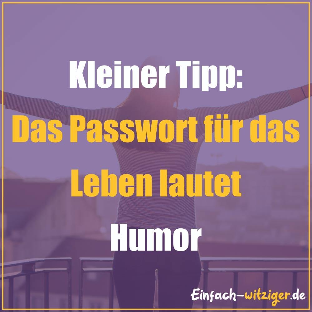 Coole Sprüche und gute Sprüche Weise Sprüche: Kleiner Tipp: Das Passwort für das Leben heißt Humor!