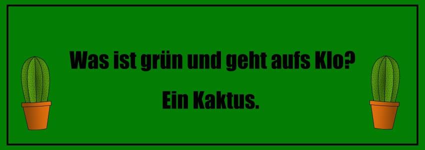 Kalauer kinder: Was ist grün und geht aufs Klo? Ein Kaktus.