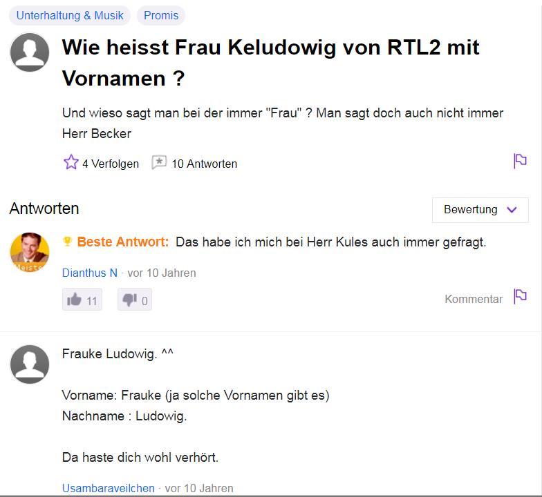 Wie heißt Frau Keludowig von RTL2 mit Vornamen? - Antwort: Frauke Ludowig heißt sie!