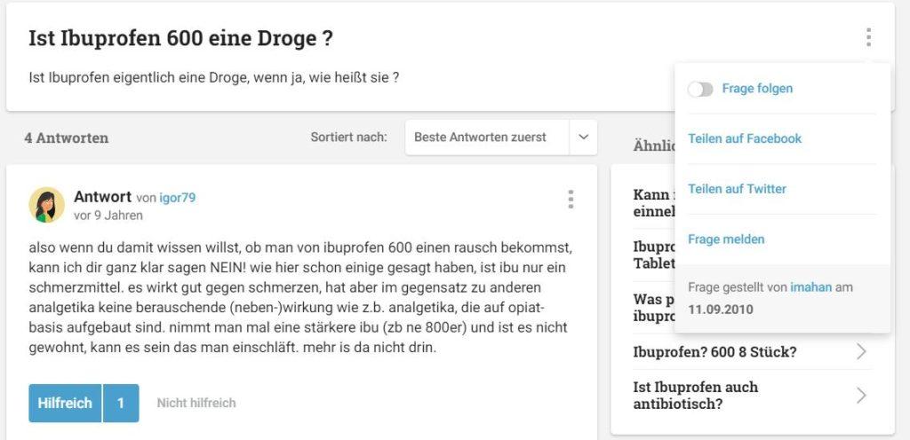 Ist Ibuprofen 600 eine Droge ? - Ist Ibuprofen eigentlich eine Droge, wenn ja, wie heißt sie ?