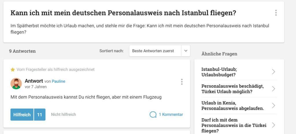Kann ich mit mein deutschen Personalausweis nach Istanbul fliegen?