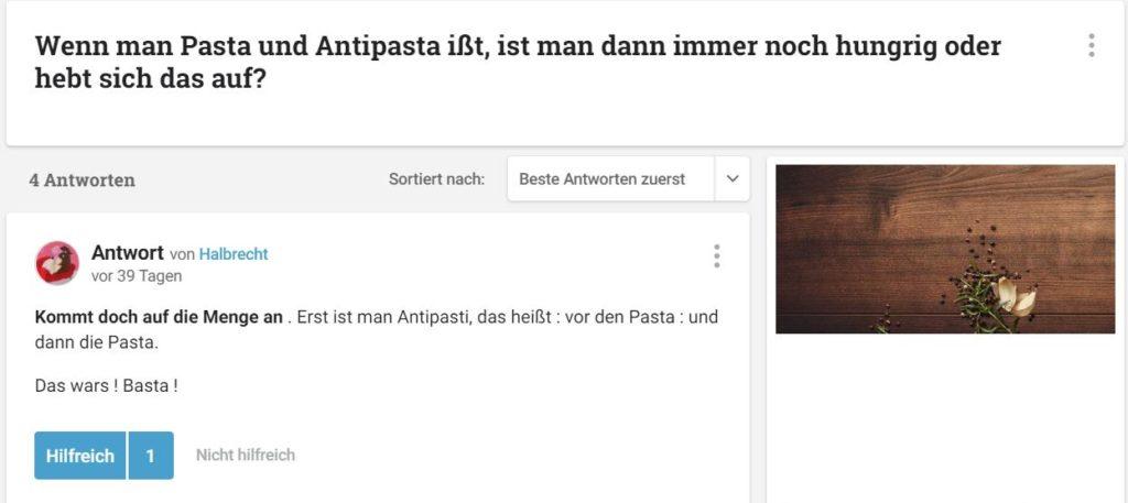 Wenn man Pasta und Antipasta ißt, ist man dann immer noch hungrig oder hebt sich das auf?